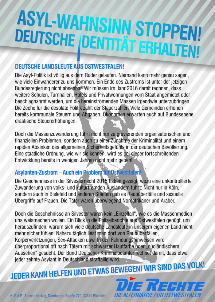 Abschluß unserer Anti-Asyl-Kampagne: Verteil-Aktionen in Bielefeld und Werther