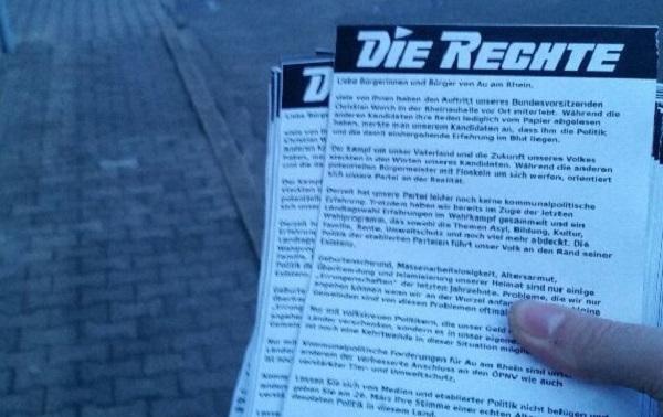 Weitere Verteilung von Flugblättern kurz vor der Bürgermeisterwahl in Au am Rhein