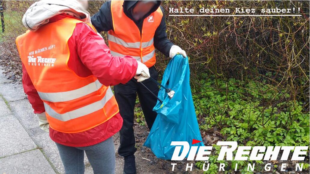 """DIE RECHTE Thüringen führte den ersten Aktionstag der Initiative """"Halte deinen Kiez sauber!"""" in Suhl durch"""