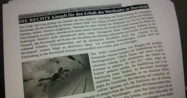 Dortmund-Dorstfeld: Flugblattaktion für den Erhalt des Westbades