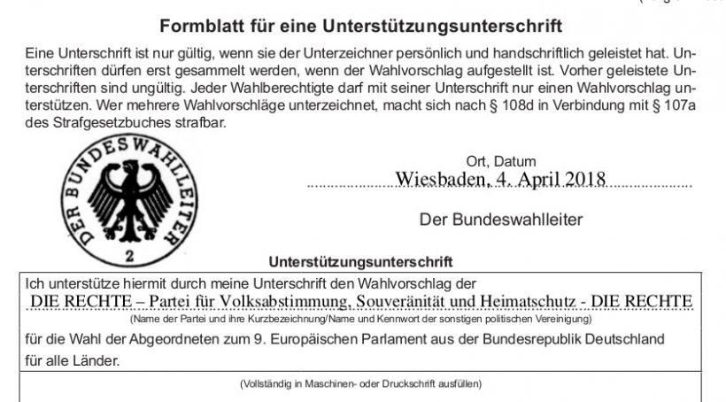 Jetzt für den Europawahl-Antritt von DIE RECHTE unterschreiben!