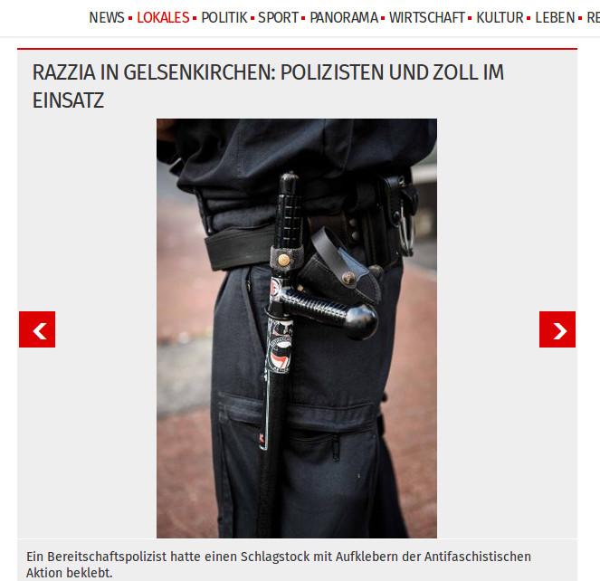 Gelsenkirchen: Antifa-Kampftrupp? Polizisten bei Razzia mit linksextremen Aufklebern an ihrer Ausrüstung!