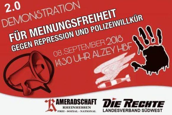 Gegen Repressionen, für Meinungsfreiheit: Demo am 8.9. in Alzey!