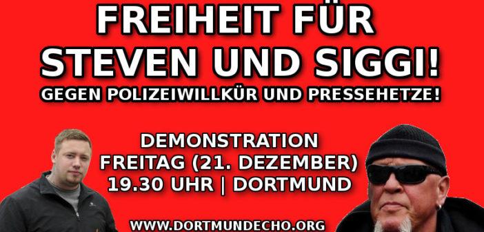 Freiheit für Steven und Siggi, gegen Polizeischikanen: Freitag (21.12.) Demonstration in Dortmund!