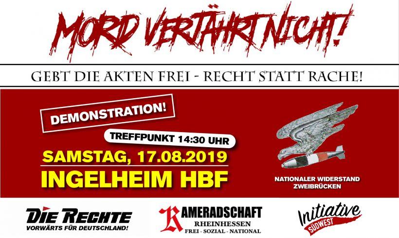 "17. August: Demonstration ""Mord verjährt nicht!"" in Ingelheim am Rhein"