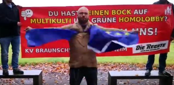 DEXIT jetzt: Protestaktion vom KV Braunschweig / Hildesheim gegen geplanten Schutz der EU-Fahne