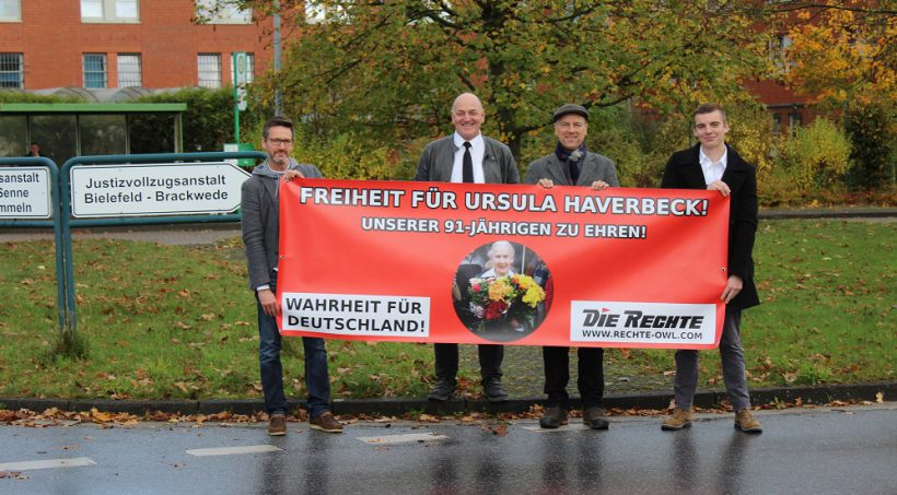 Banner-Aktionen für die Geburtstagsdemonstration für Ursula Haverbeck am 9. November in Bielefeld