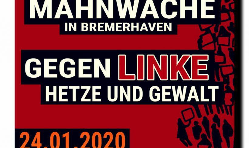 Freitag (24.1.) Mahnwache in Bremerhaven!