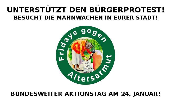 """Unterstützt die """"Fridays gegen Altersarmut"""": Am 24. Januar finden über 100 Mahnwachen in ganz Deutschland statt!"""